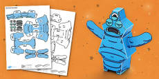 Blob Monster 3D Halloween Paper Model