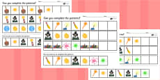 Bonfire Night Complete the Pattern Activity Sheet