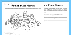 Roman Place Names Activity Sheet