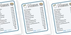 Fish And Chip Shop Role Play Menu