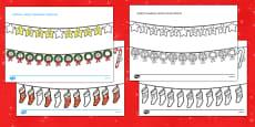 Sărbătoarea Crăciunului, completarea numerelor lipsă - Fișă de lucru