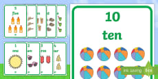 Summer Themed 1 to 10 Word and Number Display Posters