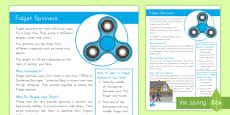 * NEW * K-2 Fidget Spinners Fact Sheet