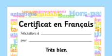 English Award Certificate French