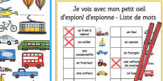 Transport-Themed I Spy With My Little Eye Activity French