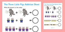 The Three Little Pigs Addition Sheet