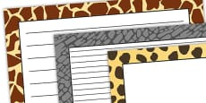 Safari Animal Pattern Themed Landscape Page Borders