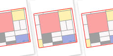 Mondrian Themed Editable Classroom Area Display Sign
