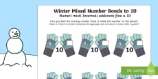 Winter Themed Mixed Number Bonds to 10 Activity Sheet English/Italian
