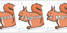 Months of the Year on Red Squirrels