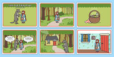 Little Red Riding Hood Story Sequencing with Speech Bubbles Arabic Translation