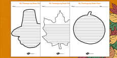 Thanksgiving Shape Poetry Template