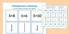 5 Times Table Multiplication Matching Puzzle