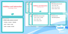 PlanIt Y5 Addition and Subtraction Challenge Cards