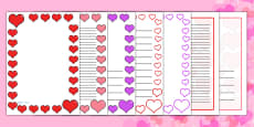 Valentine's Day Page Borders (A4)
