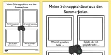 My Holiday Snapshots Writing Frame German