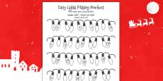 Christmas Fairy Light Missing Number Activity Sheet Arabic Translation