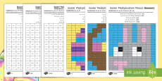 * NEW * Easter Multiplication Mosaics Differentiated Activity Sheets English/Polish