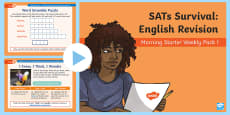 * NEW * SATs Survival: Year 6 English Revision Morning Starter Weekly PowerPoint Pack 1