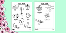 Spring Words Colouring Sheets Romanian Translation