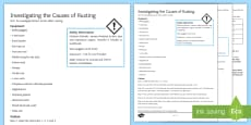 Causes of Rusting Investigation Help Sheet Print-Out
