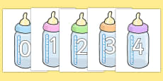 Numbers 0-20 on Baby Bottles