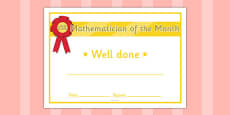 Mathematician of the Month Certificate