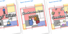 Mondrian Themed Editable Square Classroom Area Signs (Plain)