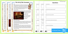 * NEW * The Ark of the Covenant Differentiated Comprehension Go Respond  Activity Sheets