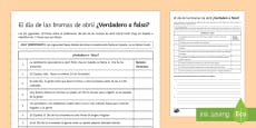* NEW * April Fools' Day True or False? Activity Sheet Spanish