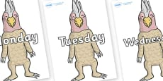 Days of the Week on Wild Thing (4) to Support Teaching on Where the Wild Things Are
