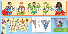 Superhero Themed Days of the Week Display Pack