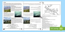 Europe Natural Features Reading Differentiated Comprehension Activity English/Arabic