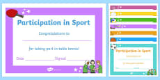 Editable Participation in Sport Certificates