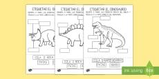 Ficha de actividad: Etiqueta las partes del dinosaurio