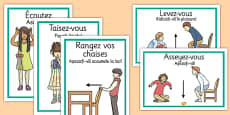 French Classroom Instructions Display Posters Romanian Translation