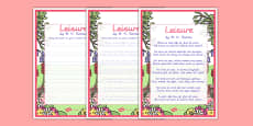 Leisure KS2 Handwriting poems