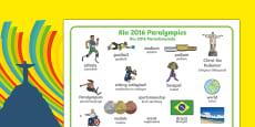 Rio Paralympics 2016 Word Mat Polish Translation