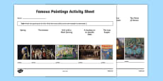 Famous Paintings Matching Activity Sheet