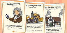 The Great Fire of London Timeline Display Posters Arabic Translation