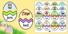 CVC A Words Easter Egg Matching Activity