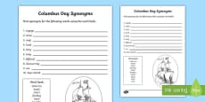 Columbus Day Synonym Activity Sheet