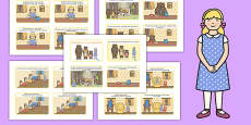 Goldilocks and the Three Bears Story Sequencing 4 per A4 with Text Polish