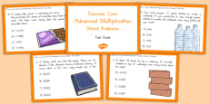 Common Core Advanced Multiplication Word Problem Task Cards