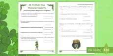 NI St. Patrick's Day Measures Research Activity Sheet