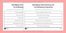 Identifying Subordinating and Coordinating Conjunctions Activity Sheets