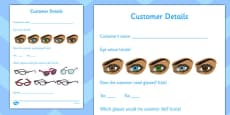 Opticians Role Play Customer Details Form