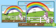 Póster Colores del arco iris - italiano