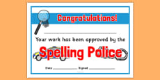 Spelling Police Certificates