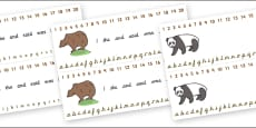 Combined Alphabet and Number Strips (Bears)
